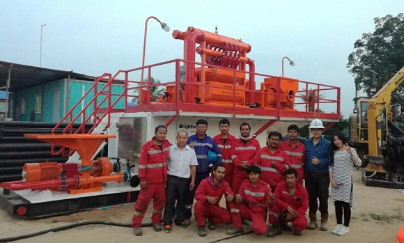 350GPM Mud recovery system for Thailand customer technical services on site
